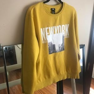 Men's M, H&M New York Sweatshirt Mustard Yellow